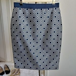 Ann Taylor Navy Geo Square Pencil Skirt